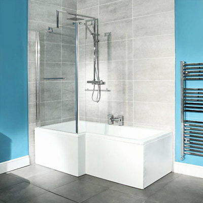 L Shape Shower Bath Tub ; 1670 Acrylic White ; Hinged Screen & Panel Bathroom