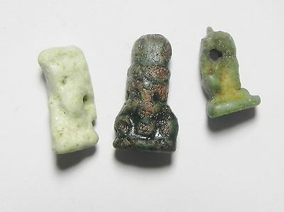 ZURQIEH -vc62- ANCIENT EGYPT , LOT OF 3 FAIENCE AMULETS , 600 - 300 B.C • CAD $100.67