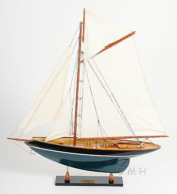 """Eric Tabarly's Pen Duick Yacht Painted Wooden Model 27"""" Sailboat Assembled"""