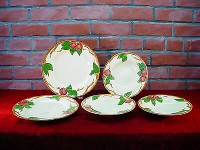"Lot of 2 Franciscan Apple 10 5/8"" DINNER PLATES & 3 Rimmed Soup BOWLS As Is"