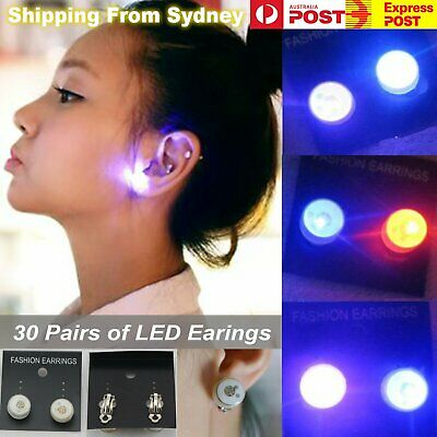 60X LED Earrings Clip On Kids 30 Pairs Party Light Flashing Glow in the dark