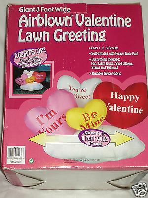 NEW Gemmy Valentines Day Lighted 8' HEARTS Airblown Inflatable Yard Blow-up
