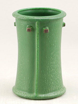 Arts and Crafts Prairie Cabinet Vase in Cucumber Green Door Pottery