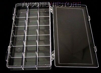 Crystal Clear 18 Compartment Storage Box With Double Slide Locking