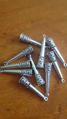 Antique Silver Big End Bead Caps x 10