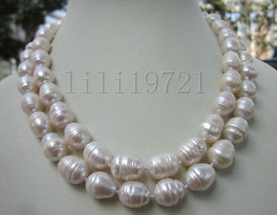 7-9MM WHITE FRESHWATER Cultured BAROQUE PEARL NECKLACE 35 INCH