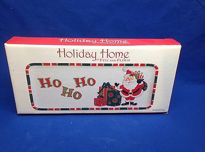 Fitz and Floyd Holiday Home That's a Wrap! Elongated Tray 2007