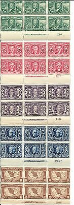 US #323 - 327 LOUISIANA PURCHASE COMPLETE SET OF 5 MINT PLATE BLOCKS OG NH 1904
