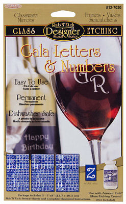 Armour Rub'N'Etch Glass Etching Stencils Gala Letters & Numbers Series