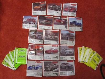 """LOT of 16 RARE """"TURBO"""" CARS CHEWING GUM WRAPPERS"""