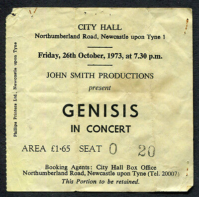 Original 1973 Genesis concert ticket stub Newcastle Foxtrot Tour Peter Gabriel