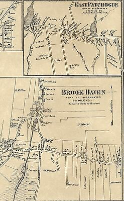 Brookhaven East Patchogue Yaphank NY 1873 Maps with Homeowners Names Shown