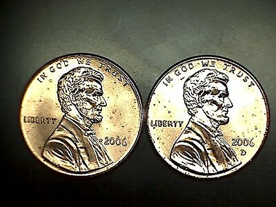 2006 P D Lincoln Memorial Cent Penny BU Brilliant Uncirculated Set From Rolls