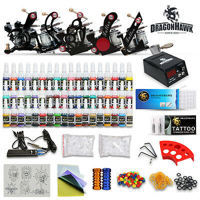 Professional Complete Tattoo Kit 5 Top Machine Gun 54 Color Inks 50 Needles