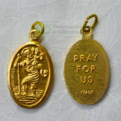 St Christopher Medal Pendant, 20 x 14mm Gold Tone Aluminium, Made In Italy