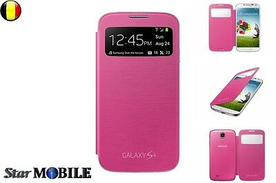 SAMSUNG GALAXY S4 i9500-9505 S-VIEW FLIP COVER COQUE CASE ETUIS HOUSSE ROSE