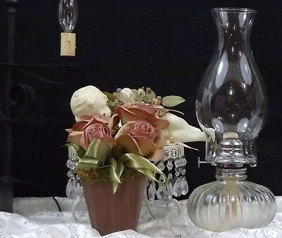 """~OIL LAMP~ 13"""" TALL~CLEAR GLASS~ CHIMNEY CLEAR GLASS~E-76"""