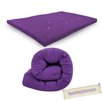 Purple Budget Double Futon Sofabed Replacement Roll Up Folding Sleeping Mattress