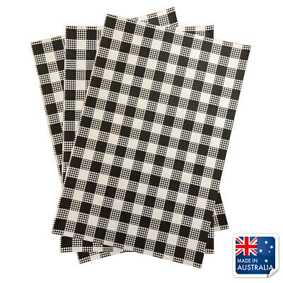 Greaseproof Paper Black Gingham 190x310mm Pkt 200 Check Checked Checkered Paper