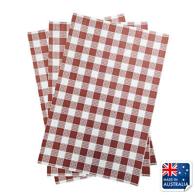 Greaseproof Paper Red Gingham 190x310mm Pkt 200 Check Checked Checkered Paper