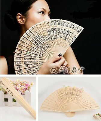 Vintage Folding Bamboo Original Wooden Carved Hand Fan Party Wedding Bridal HS99