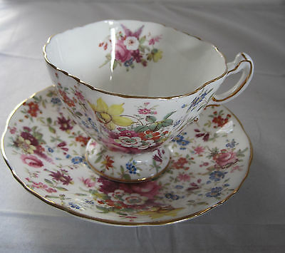 HAMMERSLEY BONE CHINA 3257 FLORAL CHINTZ CUP AND SAUCER