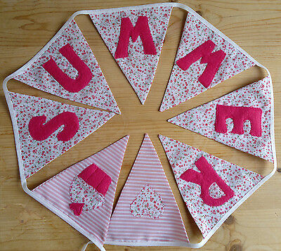Any Name Girls PERSONALISED Pink Bunting Christening Gift Baby Birthday Present
