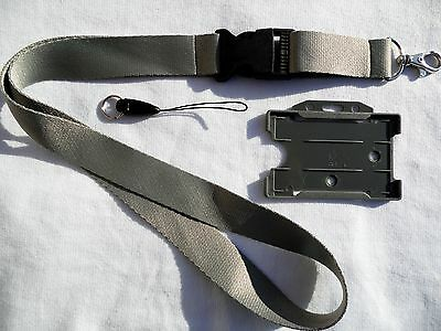 1 x Silver/Gray Lanyard with Plastic Detachable Buckle & 1  Gray ID Card Holder
