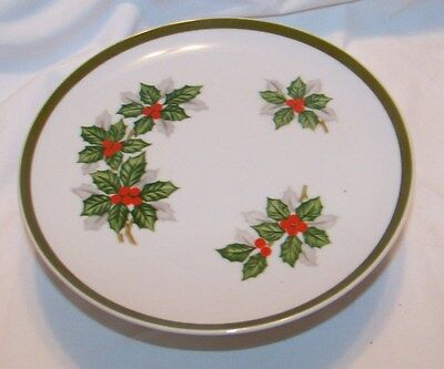 """Christmas Candy Dish Holly Berry  China Footed Pattern Mint 8"""" Norleans Japan"""