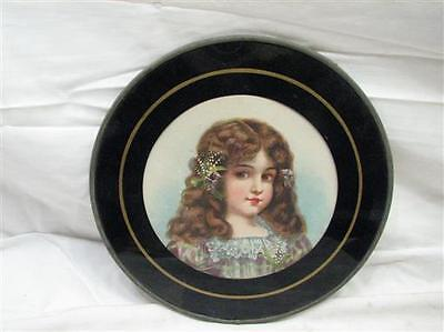 Antique Flue Cover Victorian Child Girl Lily of the Valley Round Chimney Plate