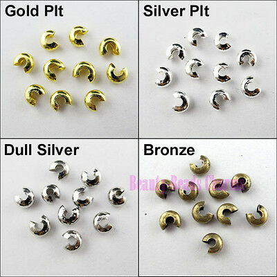 100Pcs Crimp Beads Covers 5mm Gold Silver Bronze Dull Silver