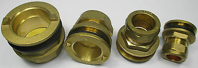 COMPRESSION BRASS FLANGED TANK CONNECTOR 15 22 28 35 mm + WASHER| PIPE FITTINGS