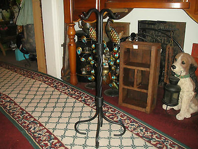 Unusual Cast Iron Metal Plant Stand-Holds 4 Plants-Twisted Braided-Curved Feet