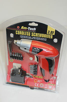Amtech 3.6v Cordless Rechargeable Electric Screwdriver Set - 2 Year Warranty NEW