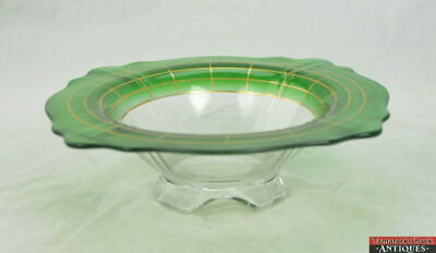 Vintage c1920s Art Deco Green Gold Clear Glass Scalloped Serving Bowl