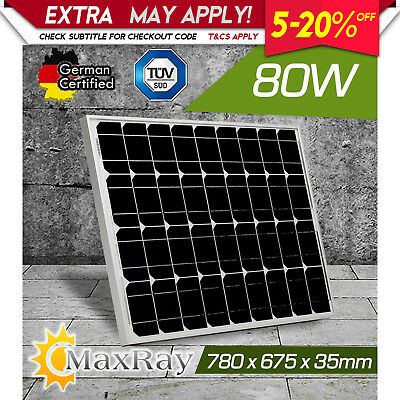 NEW MaxRay 80W 12V  Mono Solar Panel Home Off Grid Battery Charging Caravan Boat