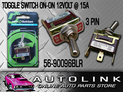 Toggle Switch Metal On - On 12 Volt @ 15 Amp 3X Male Push On Terminals Standard
