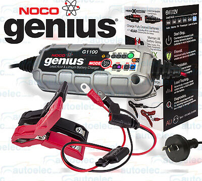 Genius Smart Battery Charger Noco 6V & 12V Car Motorbike Lithium Gel Agm G1100