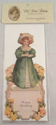 Victorian Turn Of The Century Happy Birthday Pop-Up Girl Greeting Card #Grc088