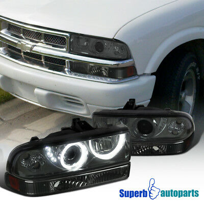 1998-2004 Chevy S10 Blazer Smoke SMD LED Halo Projector Headlights+Bumper Lights