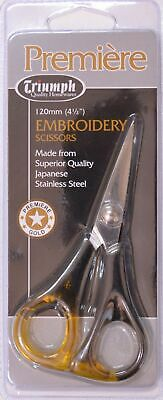 """Triumph Premiere Embroidery Scissors 120mm, 4 1/2"""", Light Weight, Stainless"""