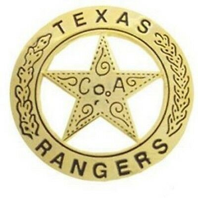 Texas Rangers Western Badge Solid Brass