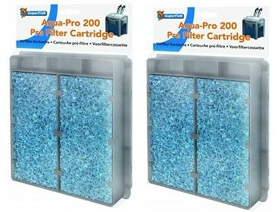2 x Superfish Aqua-Pro 200 Pre Filter Cartridge Media Tropical Discus Fish Tank
