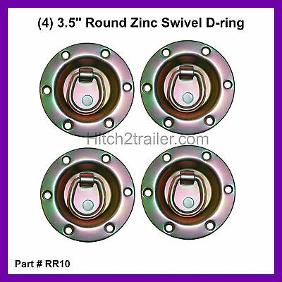 "(4) 3.5"" Round Zinc Recessed Swivel D Ring Rope Tie Down Trailer 1800#"