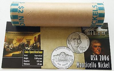 US 2006 P Monticello Nickel 5 Cents  Mint Roll BU