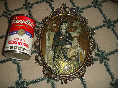 Superb Christianity Religious Painting Under Glass-Jesus & Mary-Gilded Frame-#2