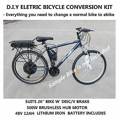 D.I.Y Electric Bicycle Ebike Conversion Kit Rear Wheel 48V 500W Brushless Motor
