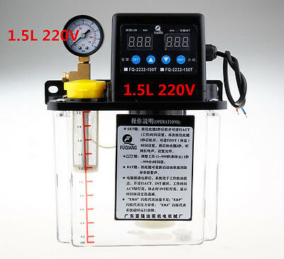 New 1.5L Dual Digital Display Automatic Lubrication Pump Oiler NC Pump 6mm 220V