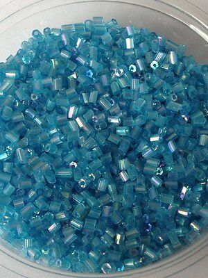 50g glass HEX seed beads - Turquoise blue Rainbow - size 11/0 (approx 2mm) 2-cut