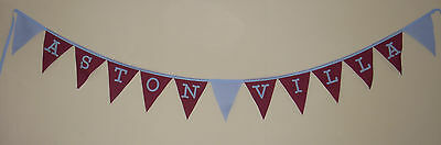Football Fabric Bunting Banner Bedroom Decoration ASTON VILLA CHRISTMAS Gift